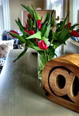 Room flower arrangement at Woods Hole Inn Cape Cod B&B